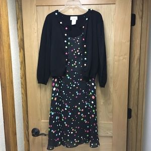 K & Company Dresses - Black polka dot dress and sweater set size 10